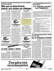 Página completa del Diario AS, del 3 de octubre de 1987, con las declaraciones de Joan Garriga desde Buenos Aires.